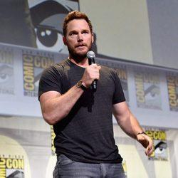 Chris Pratt talking during Marvel's panel