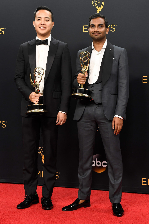 Aziz Ansari and Alan Yang after Emmys 2016