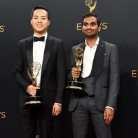 Aziz Ansari and Alan Yang after Emmys 2016