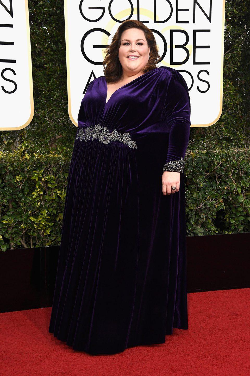 Chrissy Metz at Golden Globes 2017 red carpet