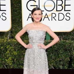 Millie Bobby Brown at Golden Globes 2017 red carpet