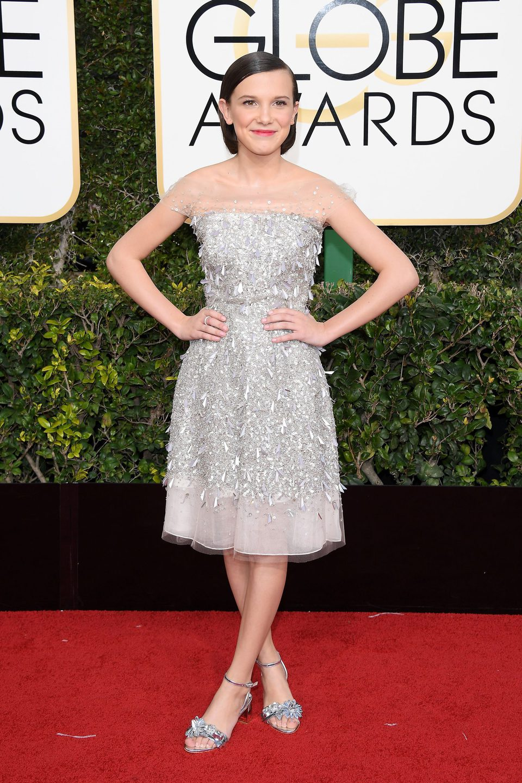 Millie Bobby Brown at Golden Globes 2017 red carpet