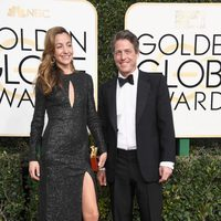 Hugh Grant, Anna Elisabet at the 2017 Golden Globes red carpet