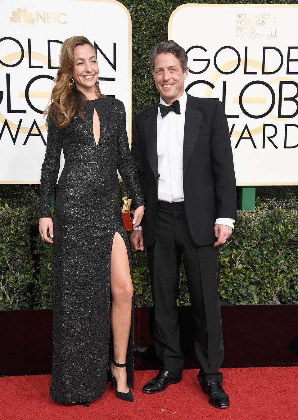 Hugh Grant, Anna Elisabet at the 2017 Golden Globes red carpet