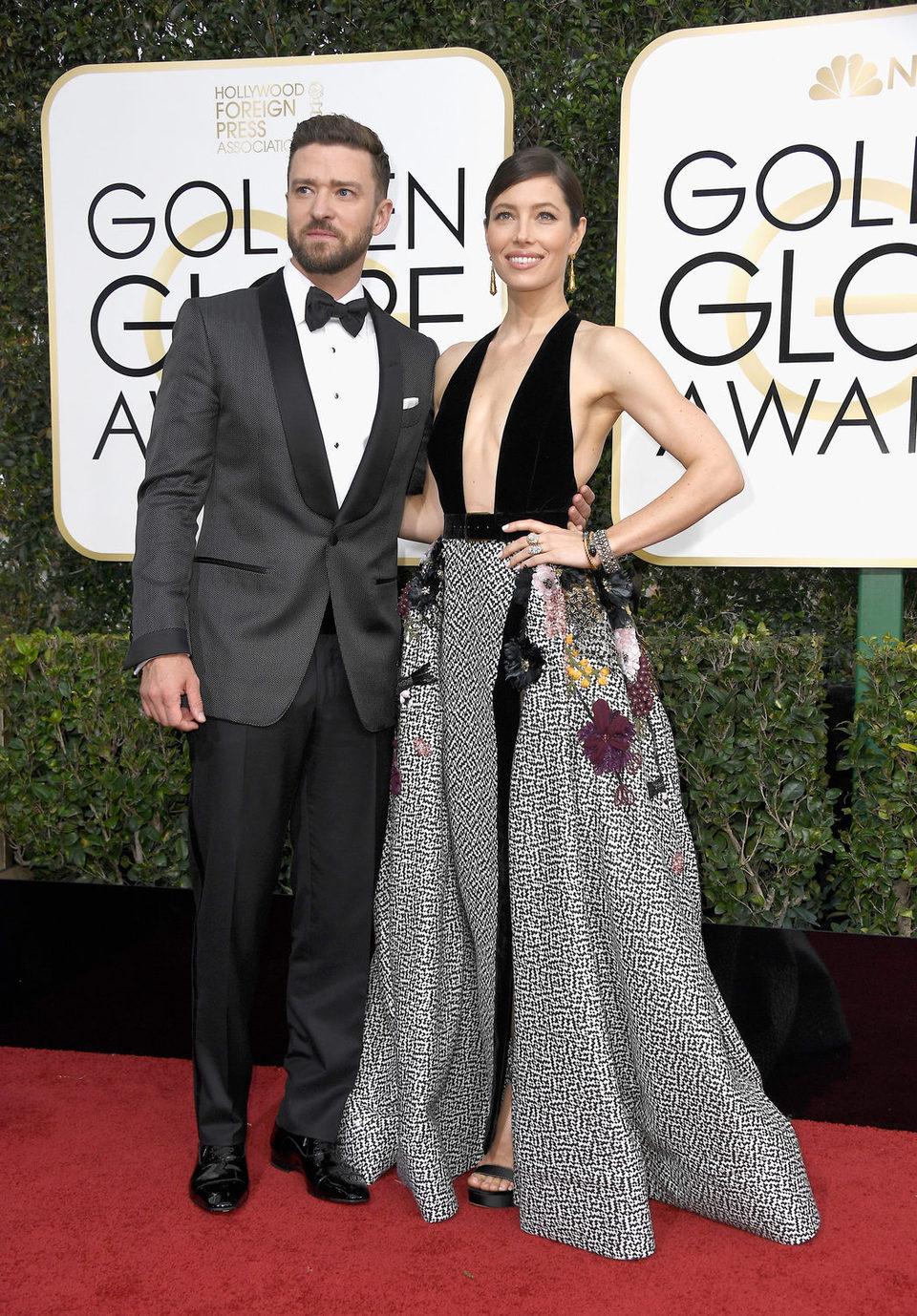 Justin Timberlake, Jessica Biel at the 2017 Golden Globes red carpet