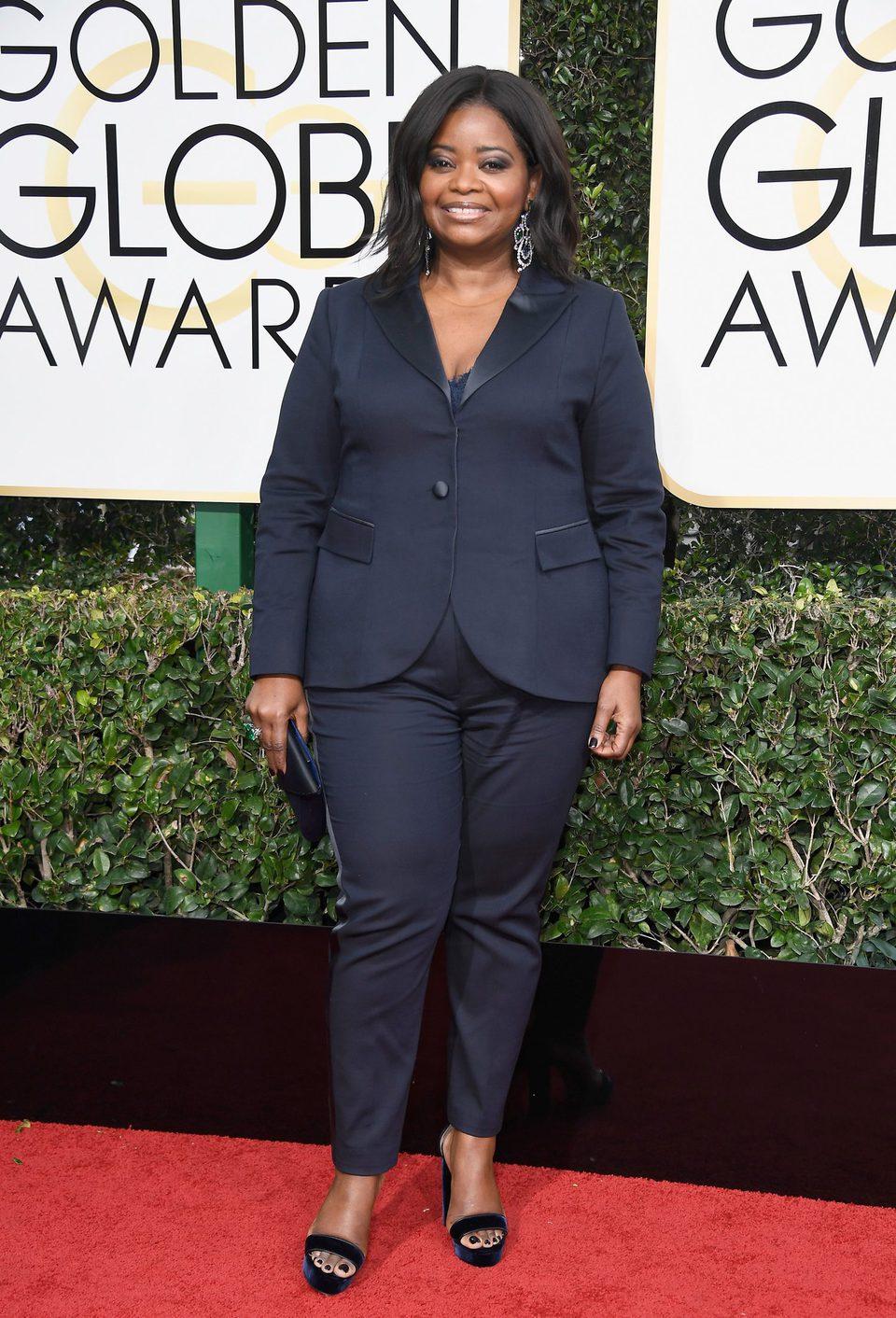Octavia Spencer at Golden Globes 2017 red carpet