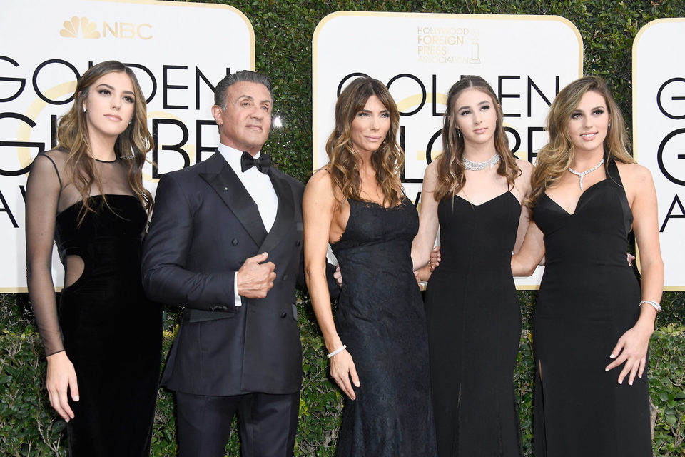 Sylvester Stallone, family at the 2017 Golden Globes red carpet