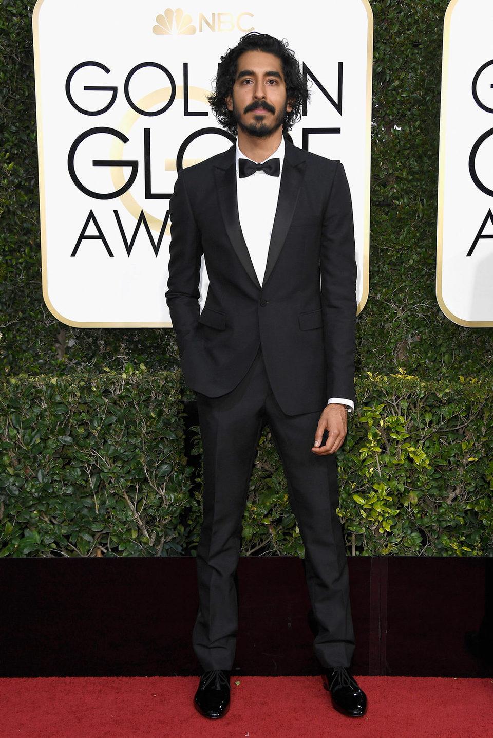 Dev Patel at the 2017 Golden Globes red carpet