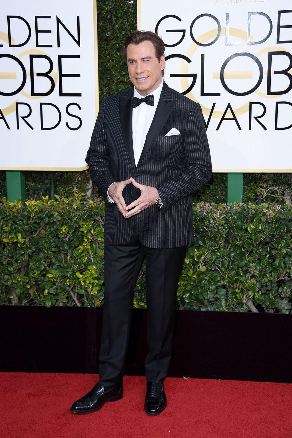 John Travolta at the 2017 Golden Globes red carpet