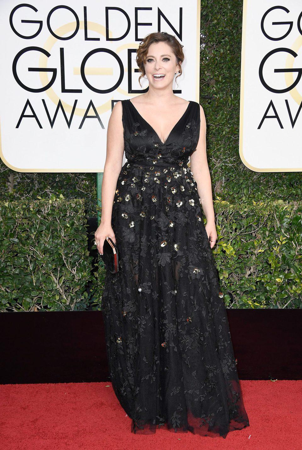 Rachel Bloom at Golden Globes 2017 red carpet