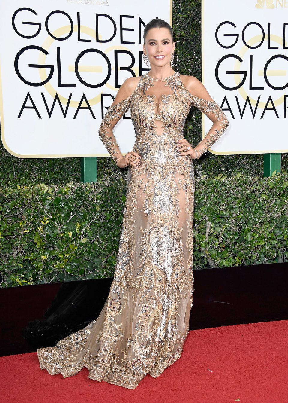 Sofia Vergara at Golden Globes 2017 red carpet