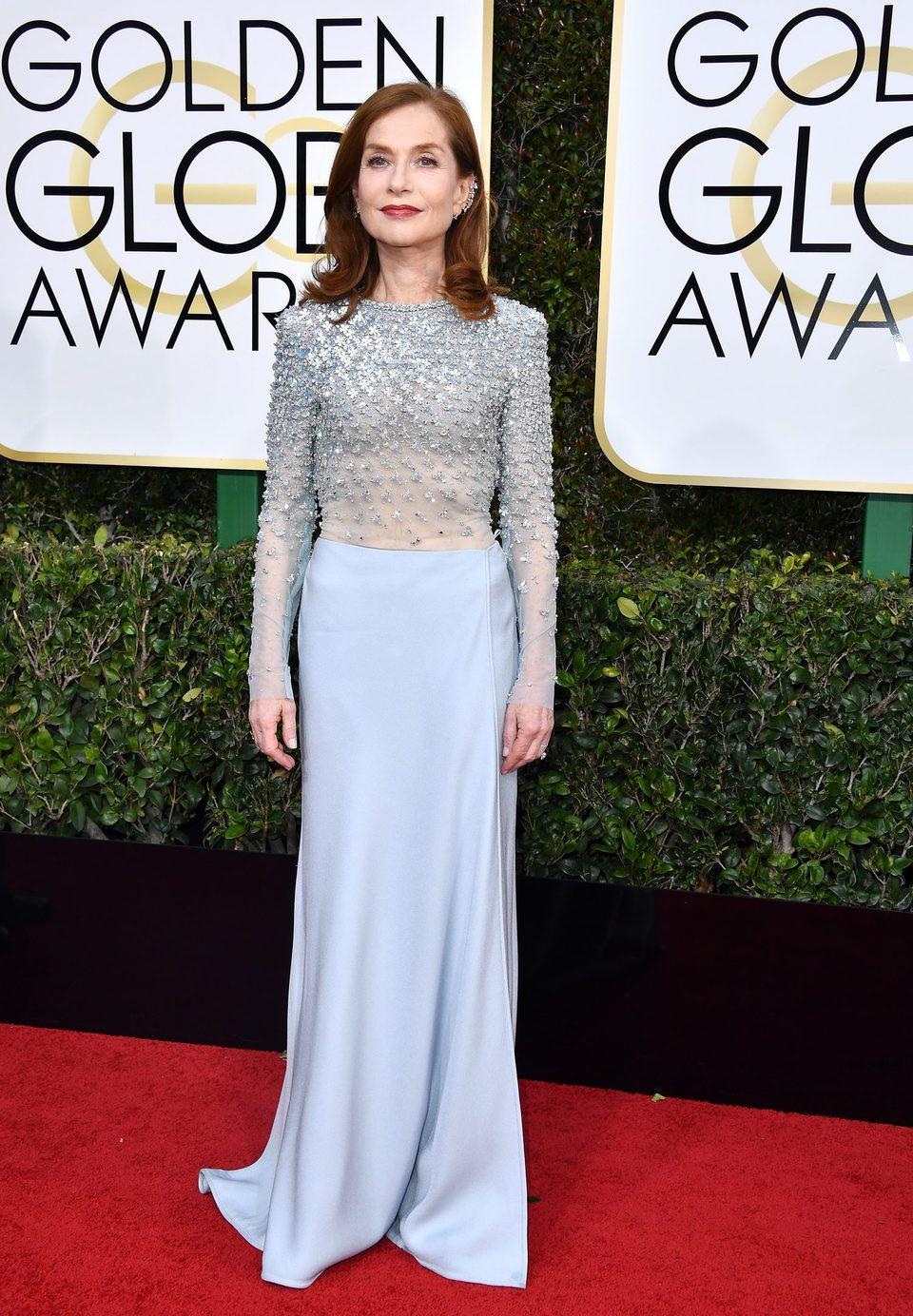 Isabelle Huppert at Golden Globes 2017 red carpet