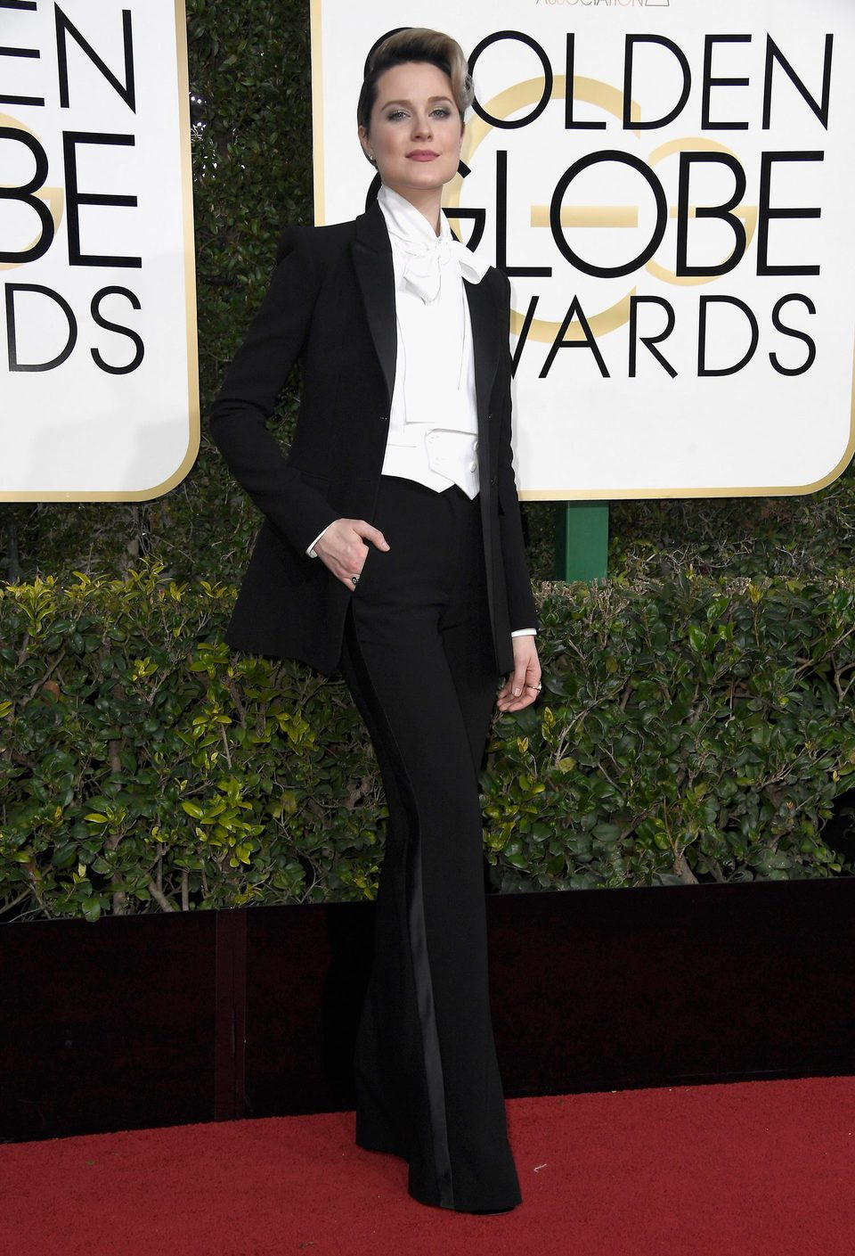 Evan Rachel Wood at Golden Globes 2017 red carpet