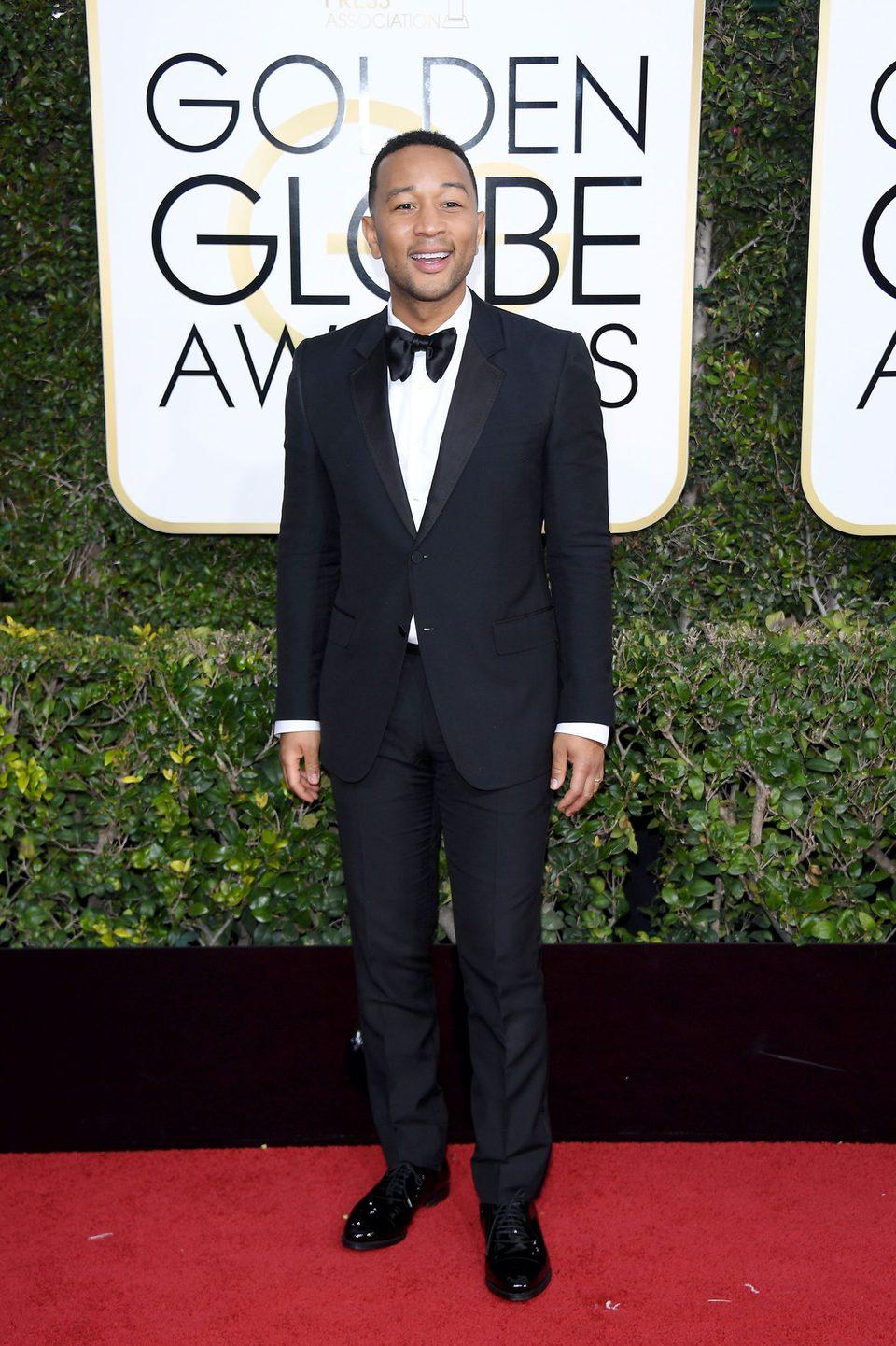 John Legend at Golden Globes 2017 red carpet