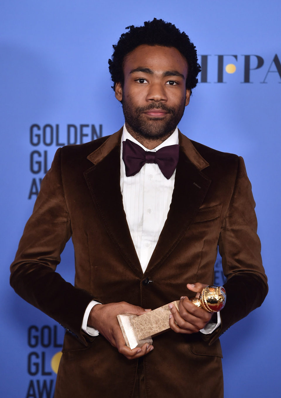 Donald Glover after the 2017 Golden Globes show