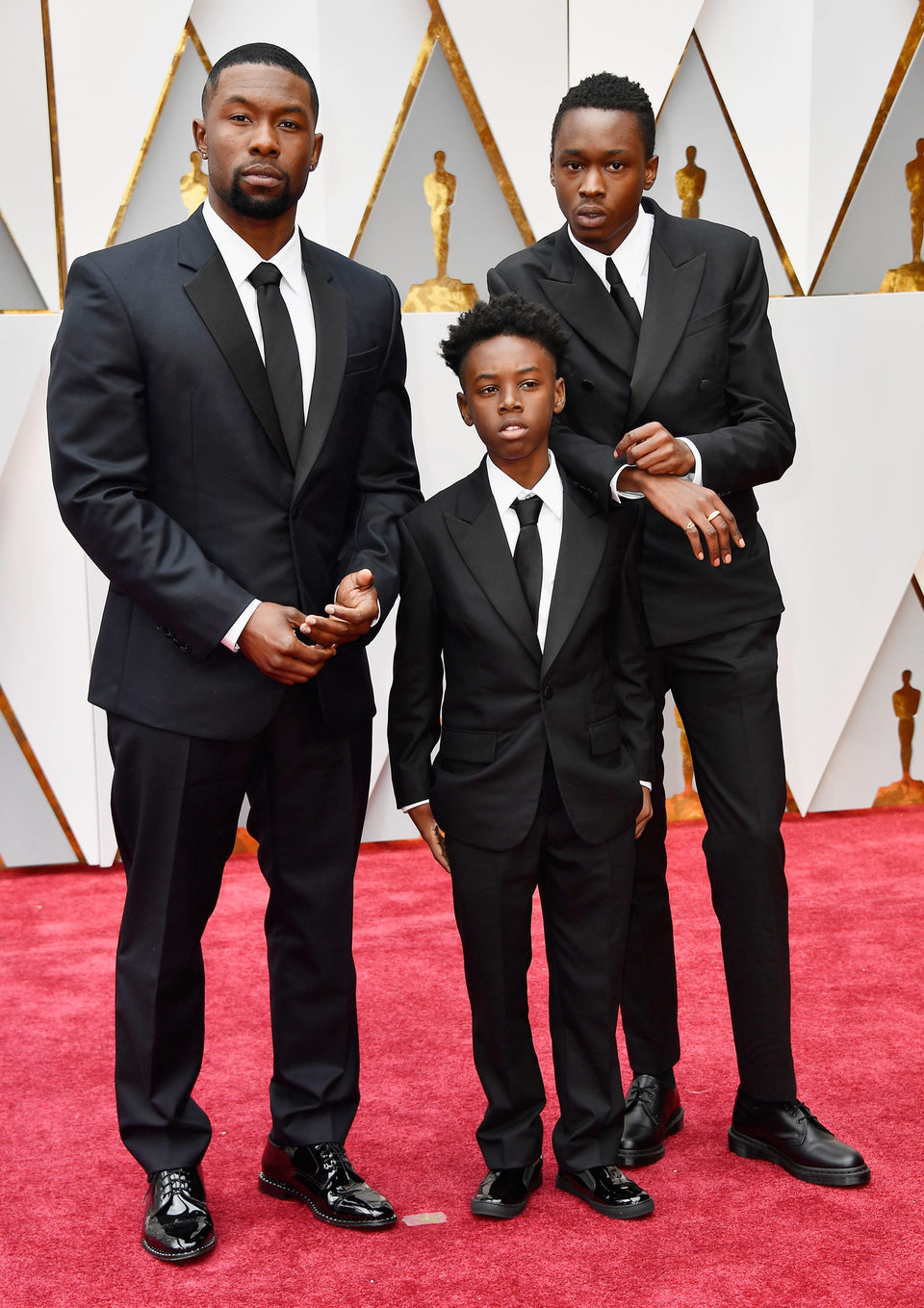 Trevante Rhodes, Alex R. Hibbert and Ashton Sanders at the Oscars 2017 red carpet