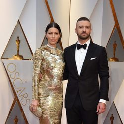 Jessica Biel and Justin Timberlake at the red carpet of the Oscars 2017