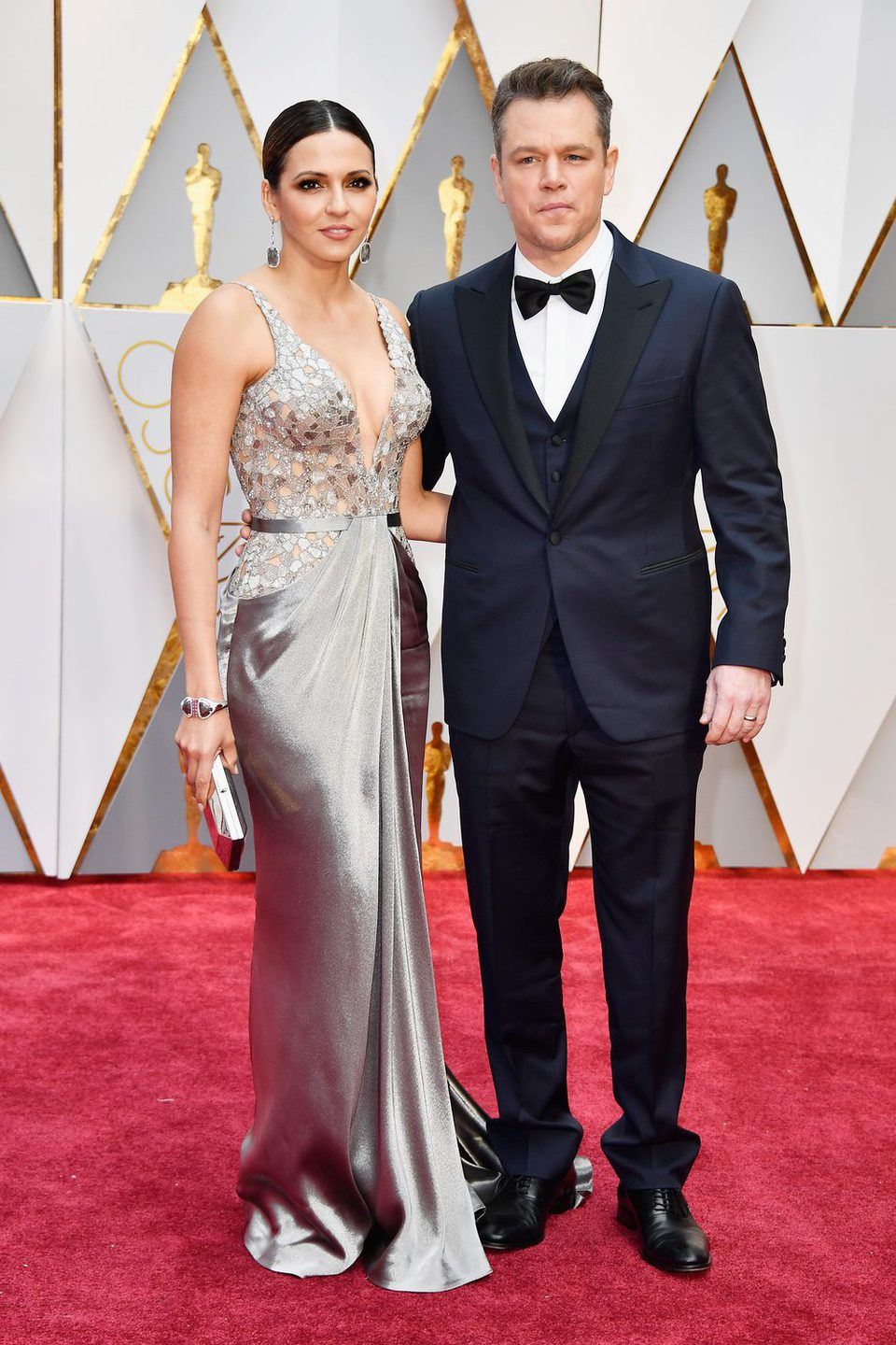 Matt Damon and Luciana Barroso at the red carpet of the Oscars 2017
