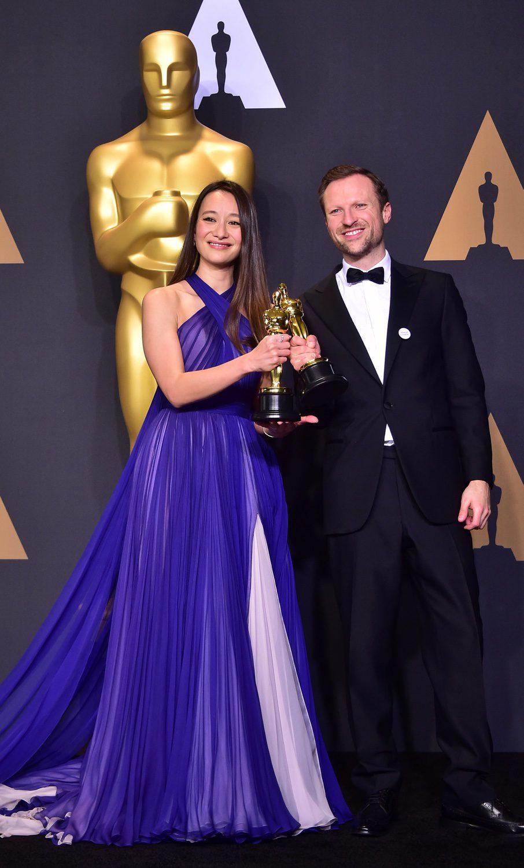 Joanna Natasegara and Orlando von Einsiedel, winners for Documentary Short Subject's Oscar for 'The White Helmets'