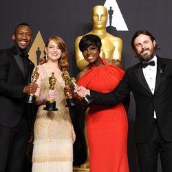 Mahershala Ali, Emma Stone, Viola Davis and Casey Affleck, winners of the Oscars 2017