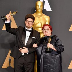 Kristof Deak and Anna Udvardy, winners of the Short Film (Live Action)'s Oscar for 'Sing'