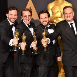 Dan Lemmon, Andrew R. Jones, Adam Valdez and Robert Legato, winners of the Best Visual Effects' Oscar for 'The Jungle Book'