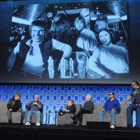 George Lucas with the cast of 'Star Wars' in the Star Wars Celebration