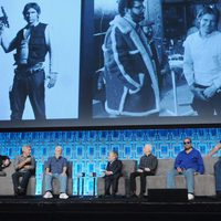 Mark Hamill with the crew of 'Star Wars' during the Star Wars Celebration