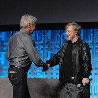 Mark Hamill and Harrison Ford in the Star Wars Celebration