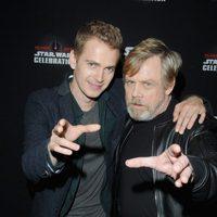 Mark Hamill and Hayden Christensen in the Star Wars Celebration