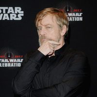 Mark Hamill goes to Star Wars Celebration, and poses before the panel of 'The Last Jedi'
