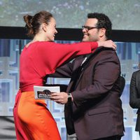 Daisy Ridley and Josh Gad at the panel of 'The last Jedi' in the Star Wars Celebration