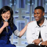 Kelly Marie Tran and John Boyega at the panel of 'The last Jedi' in the Star Wars Celebration