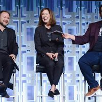 Ryan Johnson, Kathleen Kennedy and Josh Gad at the panel of 'The last Jedi' in the Star Wars Celebration