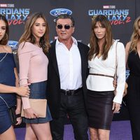 Sylvester Stallone and Jennfier Flaven with daughters at world premiere of 'Guardians of the Galaxy Vol. 2'