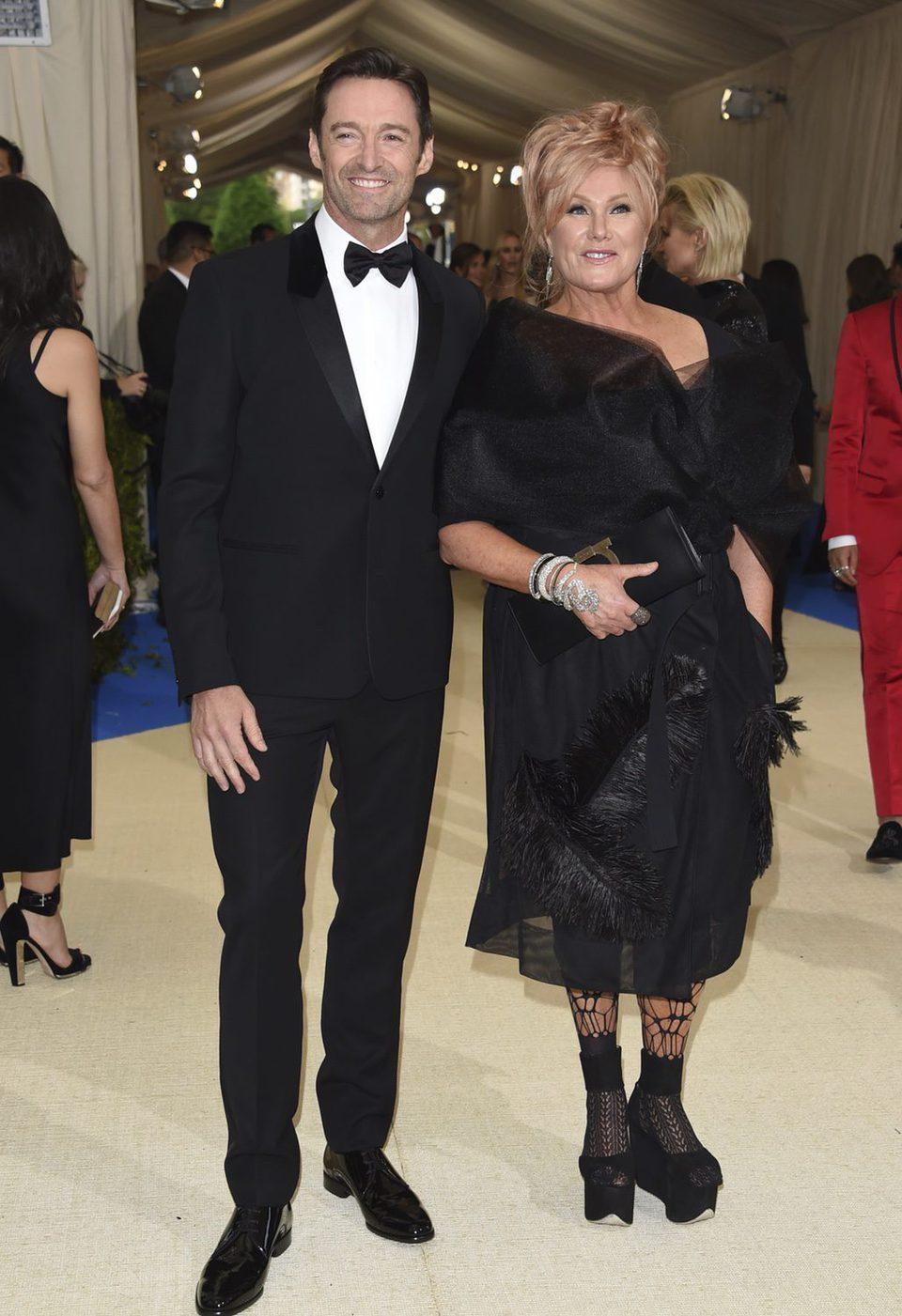 Hugh Jackman an his wife on the Met Gala red carpet 2017
