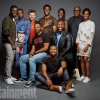 The 'Black Panter' team poses during the Comic-con 2017