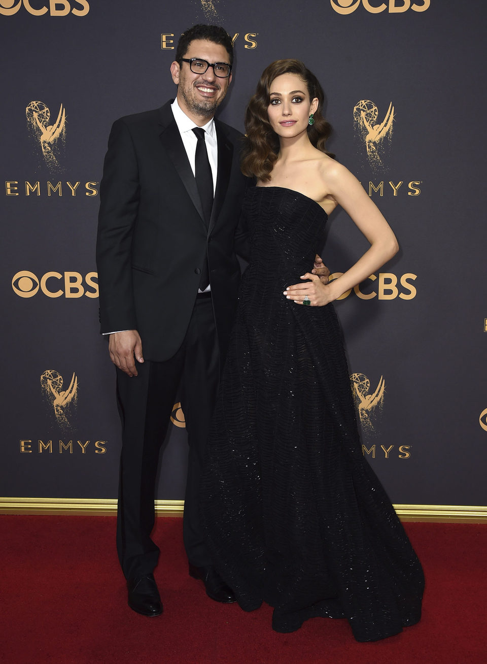 Sam Esmail and Emmy Rossum at the Emmys 2017 red carpet