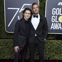 Timothee Chalamet and Armie Hammer at the Golden Globes 2018 red carpet