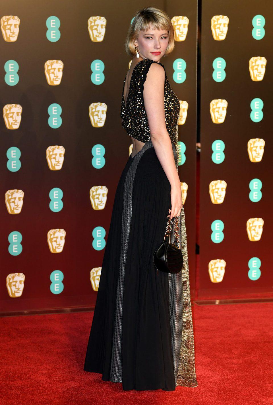 Haley Bennett at the BAFTAs 2018 red carpet