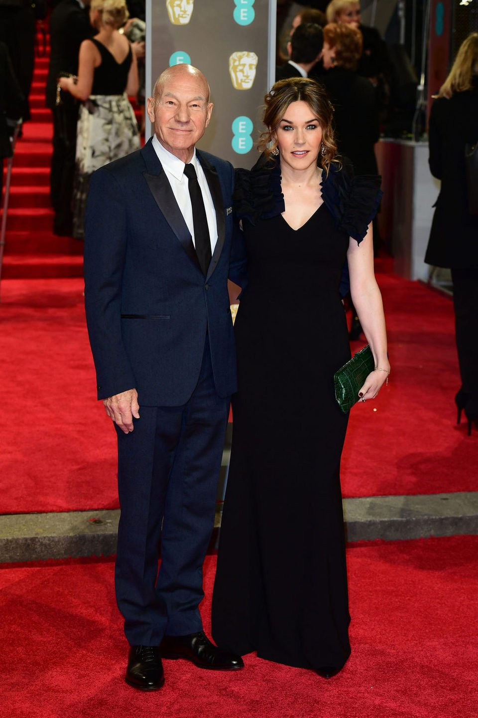 Patrick Stewart and Sunny Ozell at the BAFTA Awards' 2018 red carpet