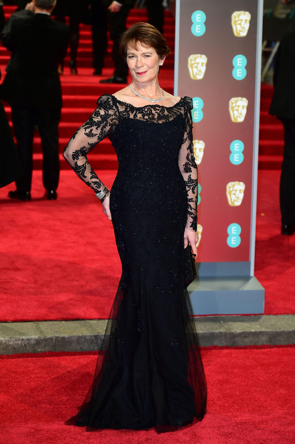 Celia Imrie at the BAFTA Awards' 2018 red carpet