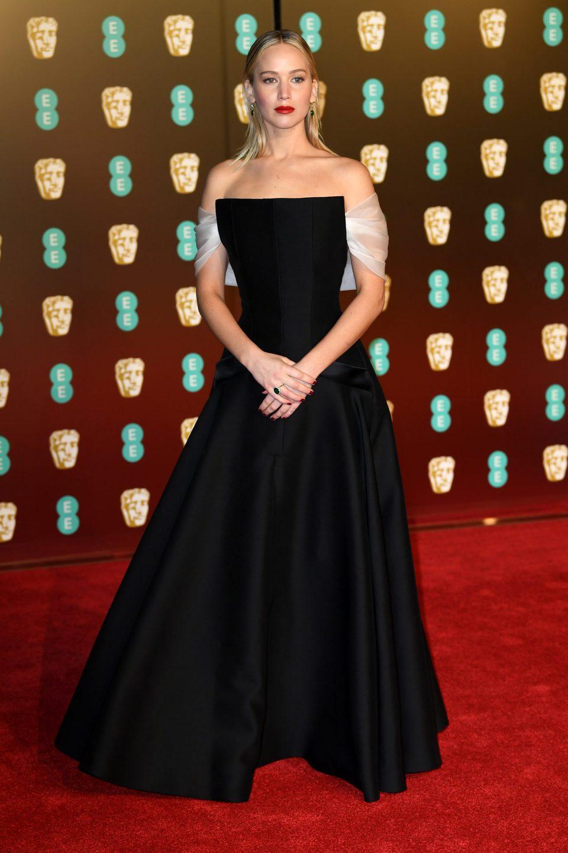 Jennifer Lawrence at the BAFTAs 2018 red carpet