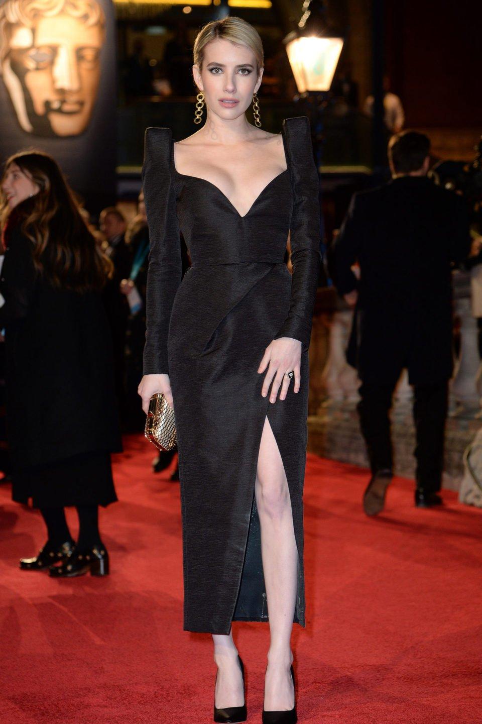 Emma Roberts at the BAFTA Awards' 2018 red carpet