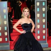 Lily James at the BAFTA Awards' 2018 red carpet