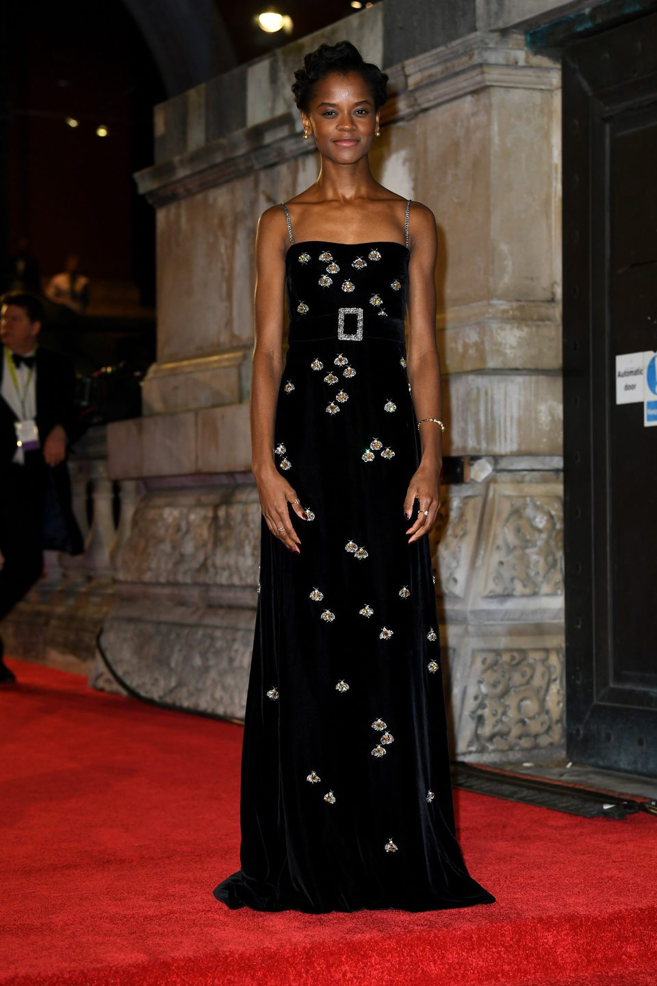 Letitia Wright at the BAFTAs 2018 red carpet