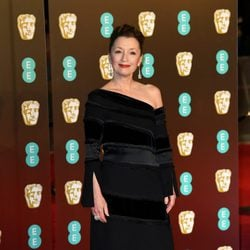 Lesley Manville at the BAFTAs 2018 red carpet