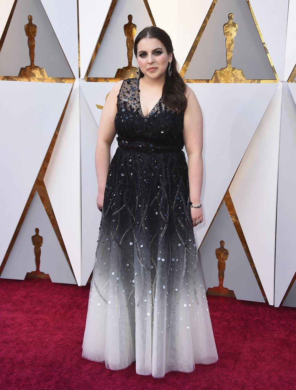 Beanie Feldstein at Oscars 2018 the red carpet