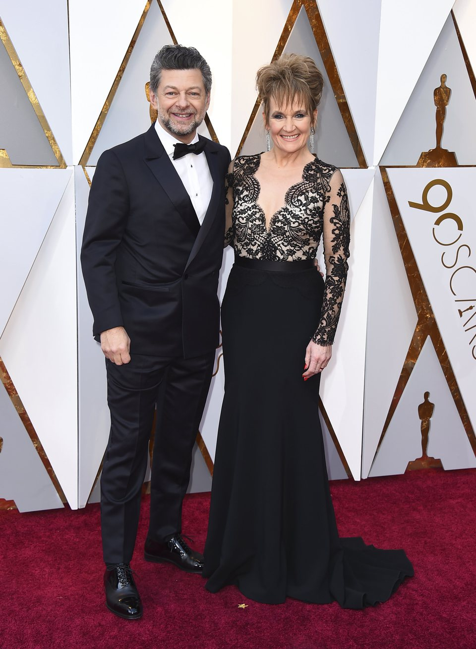 Andy Serkis and Lorraine Ashbourne at the Oscars 2018 red carpet