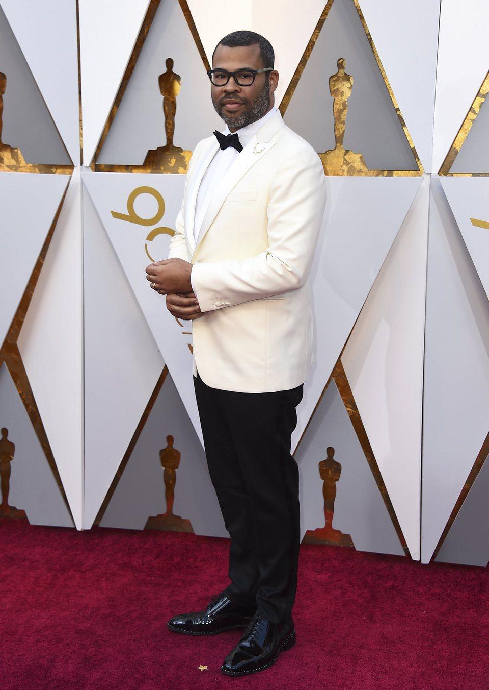Jordan Peele at the Oscars 2018 red carpet